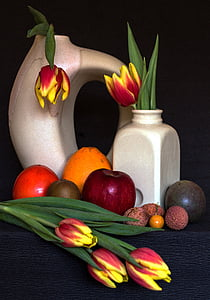 still life, fruits, tulips, tropical fruits, fruit