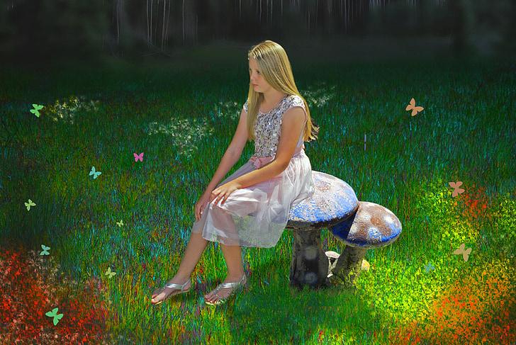 fantasia, noia, jardí màgic, imaginació
