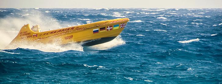 Velocitat del vaixell, Mar, ones, esprai, acció, moviment, poder