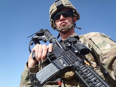 Afganistāna, aina, karadarbības zona, atdzist, armija, kareivis, lielgabals