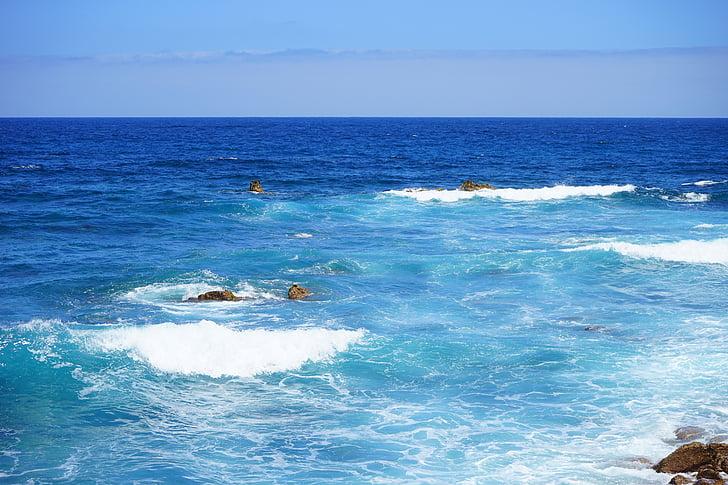Deniz, su, okyanus, geniş, Dalga, mavi, blautöne