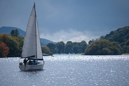 yacht, shimmer, sail, lake, water, boat, sailing