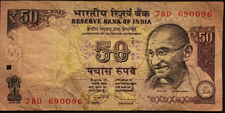 Индийска рупия, рупии, Махатма Ганди, сметки, доларовата банкнота, плащам, книжни пари