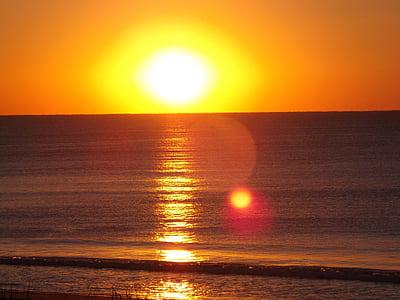 ocean, sunrise, sea, water, beach, sun, sunshine