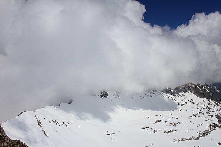 montanha, nuvens, neve, natureza, pico de montanha, ao ar livre, scenics