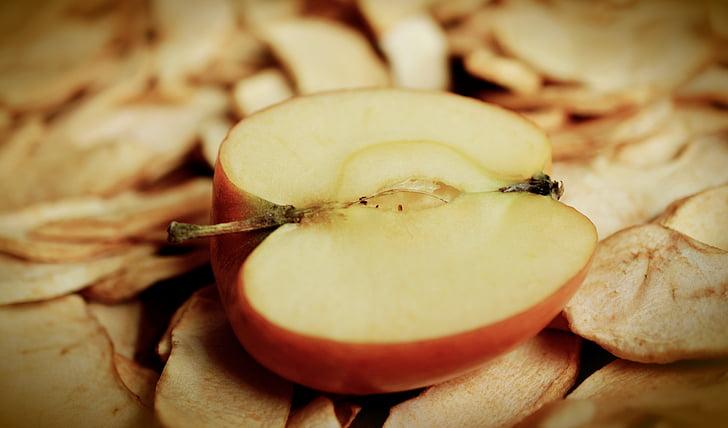 Apple, Apple poole, Core, viilutatud, kuivatatud õunad, kuivatatud puuviljad, kuivatatud