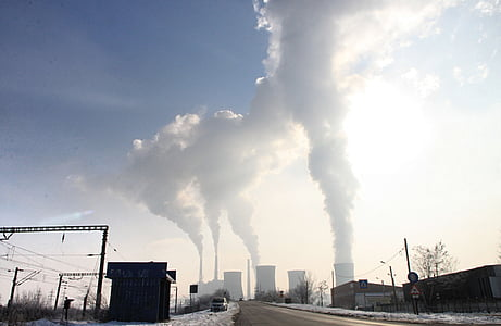 забруднення, дим, стек, викиди, галузей промисловості, парові, завод