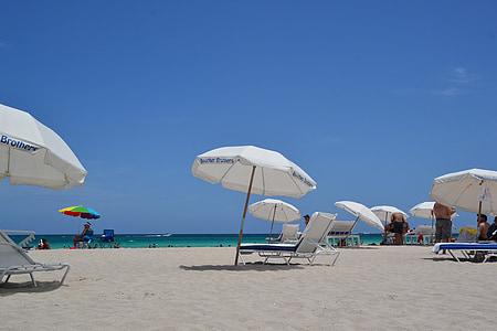 umbrela de soare, Liege, plajă, nisip, şezlong, vacanta, mare