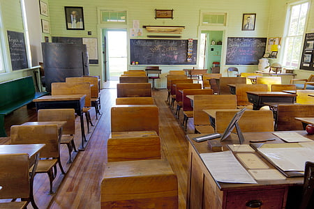 classroom, old, one-room, school, education, class, learning