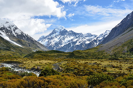 aoraki, mount cook, mountain, new zealand, alpine, sky, cloud