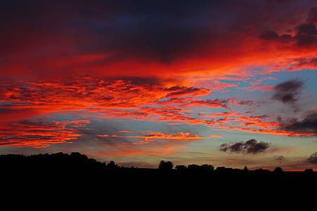 ηλιοβασίλεμα, σύννεφα, μεταλαμπή, abendstimmung, το σούρουπο, κόκκινο, Ήλιος