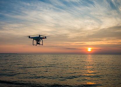stranden, kameran, Dawn, Drone, skymning, Ocean, havet