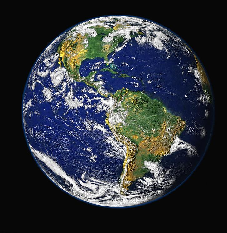 Terre, planète bleue, Globe, planète, monde, espace, univers