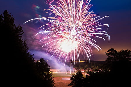 tűzijáték, kék ég, nyári, ünnepe, éjszaka, Fesztivál, esemény