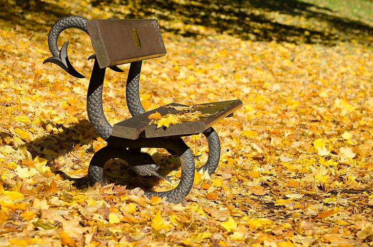 Осінь, лавки, листя, лист, жовтий, пори року, парк