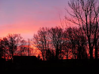 morgenrot, natura, cels, taronja, morgenstimmung, muntanya, atmosfèrica