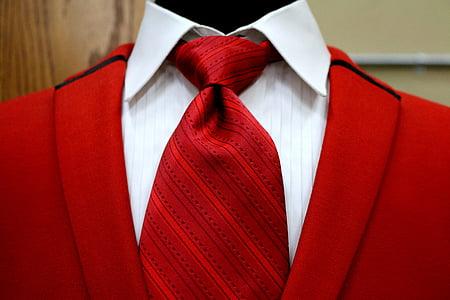 red, vest, suit, tie, shirt, collar, knot