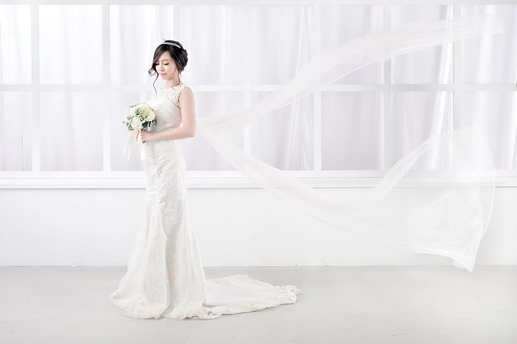 bride, get married, hairstyle, white color, wedding dress, wedding, one woman only
