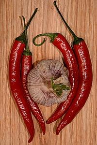 küüslauk, tšilli, pipar, taimne, toidu, Vürtsikas, paprika