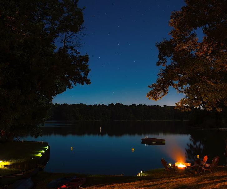 lake sara, illinois, water, reflections, landscape, night, evening