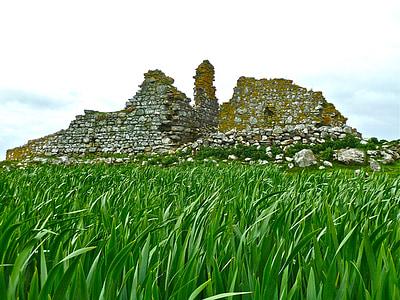 ruïnes, herba, ruïna, antiga, històric, les antigues ruïnes, històric