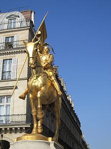 Joan of arc, patung, emas, patung, patung emas, pahlawan rakyat, pahlawan