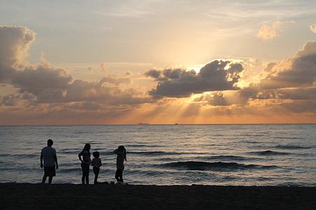 soluppgång, morgon, Dawn, stranden, Sky, sommar strand, Ocean