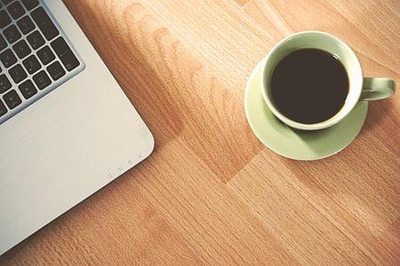 咖啡因, 咖啡, 计算机, 杯, 饮料, 笔记本电脑, 杯子