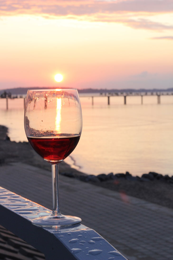 vino, Playa, puesta de sol, sol, relajarse, disfrutar de, se benefician de