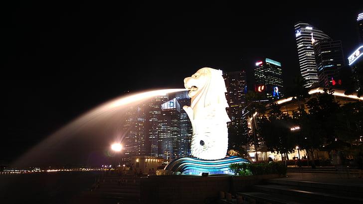 Σιγκαπούρη, διανυκτέρευση, ορόσημο, Ασία, νερό, προκυμαία, πόλη