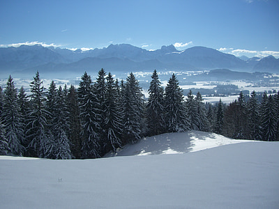 alpine panorama, aggenstein, breitenberg, winter, snow, white, mountains