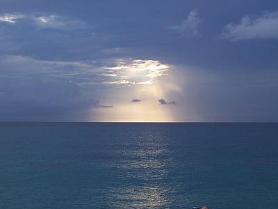 havet, solnedgång, Marine, moln, Horisont, lugnt hav, naturen