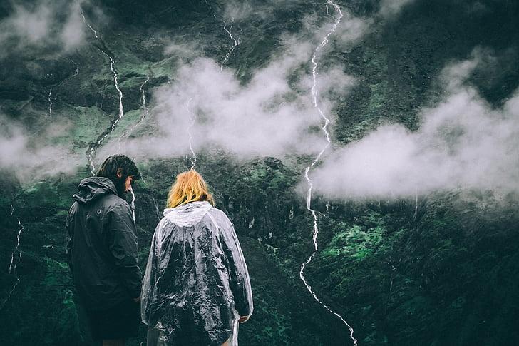 two, woman, black, gray, windbreaker, jackets, mountain