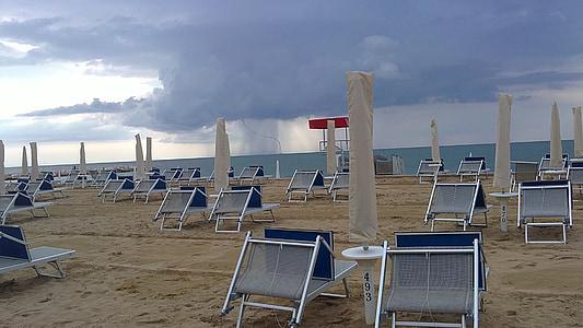 nisip, plajă, iarna, umbrele, scaune, mare, scaun