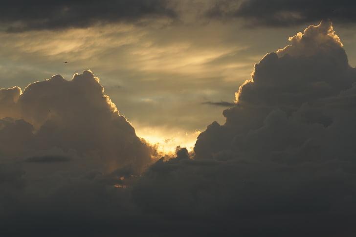 хмари, небо, післясвічення, вечірнє небо, Захід сонця, Сутінки, хмари контурів