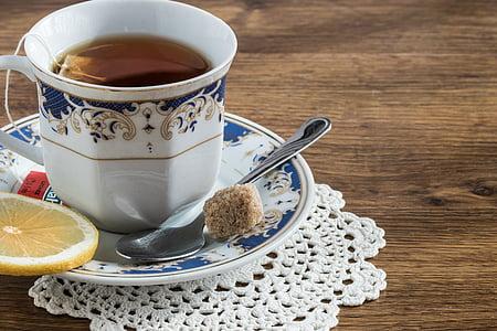 чай, напій, Teacup, лимон, Цукор куб, релаксація, напій