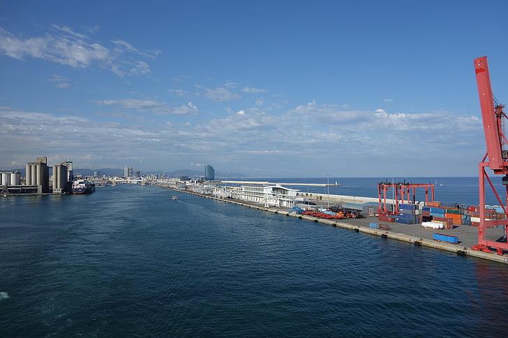Barcelonas hamn, våren, Barcelona, Crane, sjötransporter