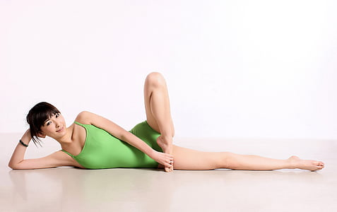 Kina, Yoga, Dans, vikter, kvinna, kroppshållning, endast kvinnor