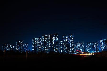 ciutat, edificis, nit, nit, il·luminat, paisatge urbà, edifici exterior