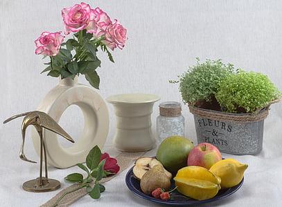 Zátiší, ovoce, mísu s ovocem, Jablko, složení, květiny, růže