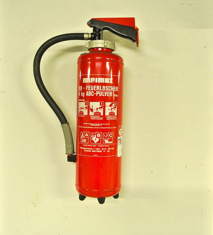 punane, tulekahju, erakorralise, ABC-pulbrid, pulber tulekustuti, tulekustuti