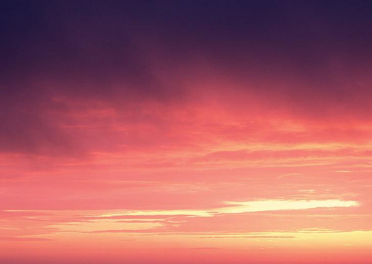 декори, залез, Orange небе, вечер небето, здрач, небе, природата