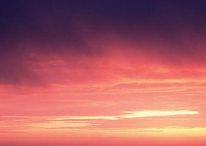 maisema, Sunset, oranssi taivas, ilta taivaalle, Twilight, taivas, Luonto