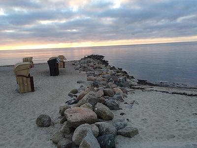 plajă, scaun de plaja, nisip, apus de soare, pietre, mare, coasta