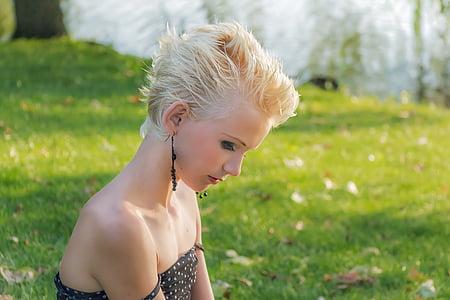 Profil, Blondine, Mädchen, junge, junges Mädchen, Lady, Mann