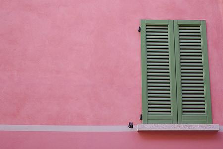 okiennice, okno, różowy, ściana, Dom, Architektura, ściany - funkcja budynku