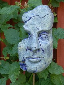 mask, concrete, colors, leaf, plant, wall, garden