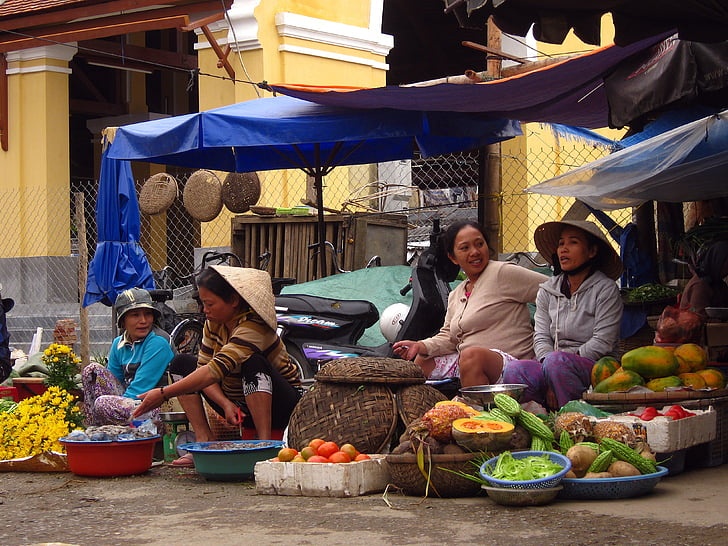 market, women, vietnam, traditional, street, colorful, vietnamese