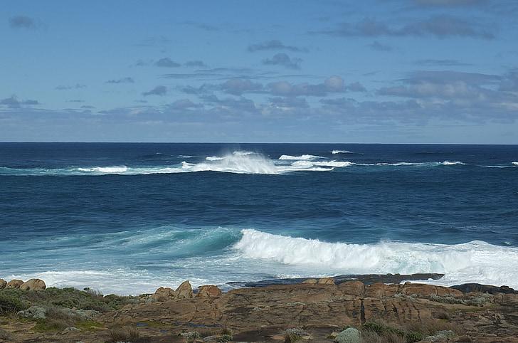 vågor, havet, Ocean, Wave bakgrund, solljus, vatten våg, solen