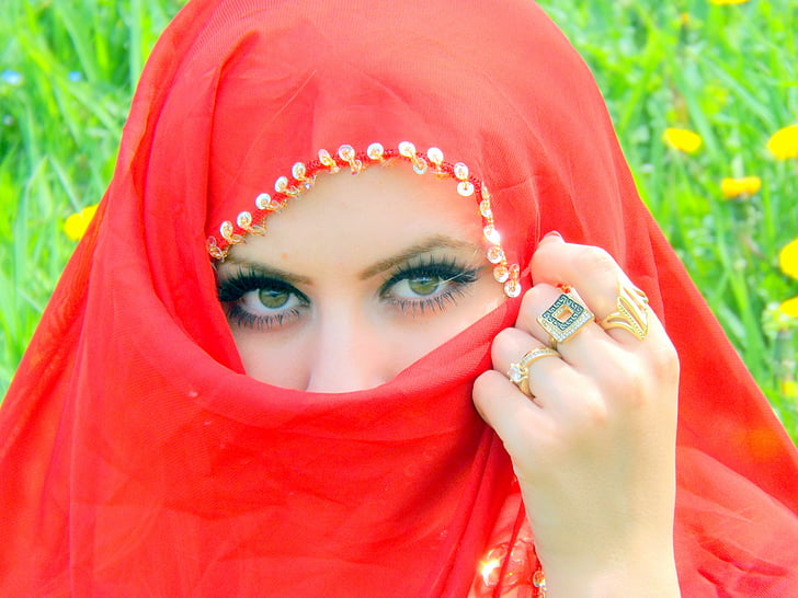 Tüdruk, silma, kate, punane, idamaine, Ilu
